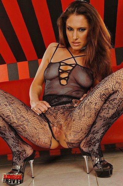 Appealing dark brown posing in embroidered hose and underclothing