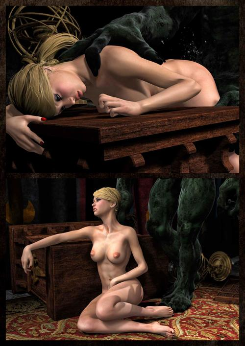Nude blonde 3d lut jumps on huge monster\