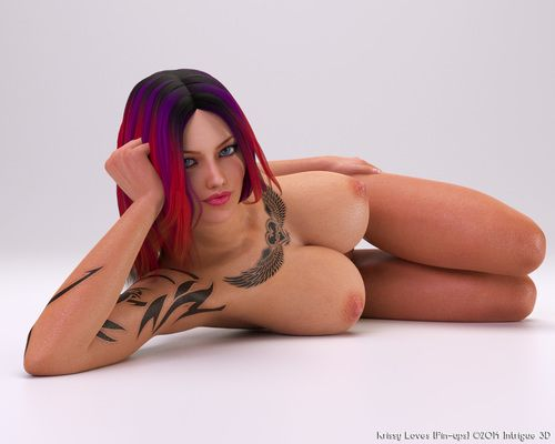 Despondent naked babe close by tattoo and big boobs looks hot
