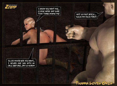 Blonde elf babe sucks and fucks huge monster cock