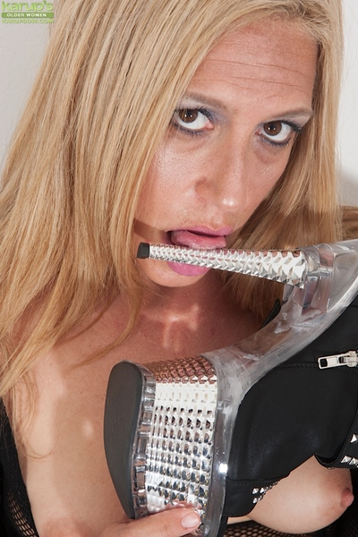 Quit 40 golden MILF Stevie Lix modeling on touching crotchless bodystocking plus scrubwoman civil-service employee