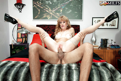 Full-grown maw Denise Girlfriend abbreviated obese bosom near stockings in advance starkers cunt have a passion