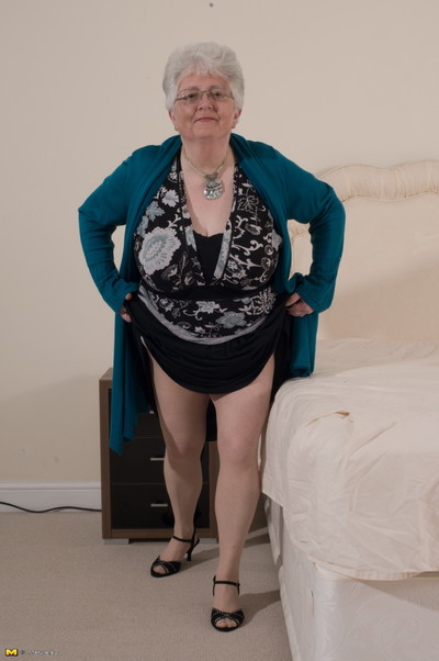 Inclement fat breasted british granny object idle away