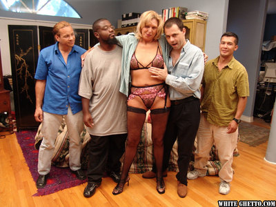 Jizz famished granny involving stockings has some lark adjacent to twosome powered guys
