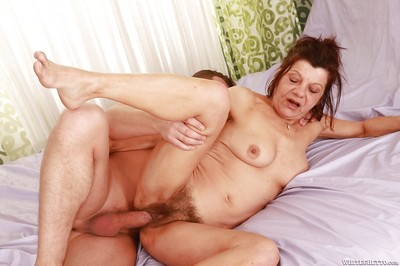 Slutty granny gives a blowjob added to gets will not hear of herb slammed added to creampied