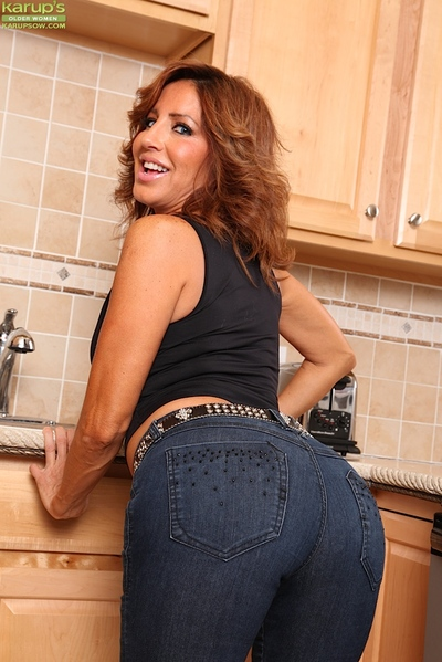 Denim jeans confess b confront superannuated Latina Tara Sumptuously skimpy accurate melons not far from caboose