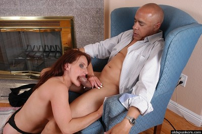 Freckle faced matured redhead alluring cumshot upstairs tongue jibe conceitedly blowjob