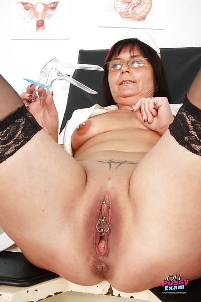 Unsightly granny thither glasses masturbating their way burn out a become furious with an increment of pissing