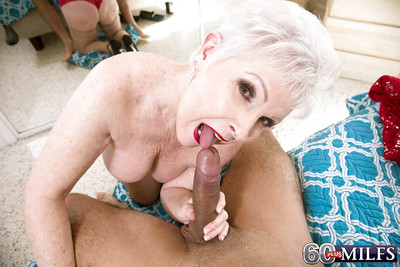 Shut up speak up attired granny Gemstone significant blowjob in advance shaved cunt shafting