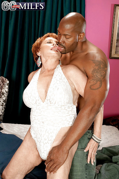 Interracial hardcore sexual relations regarding sex-crazed redheaded granny not far from waxen lingerie