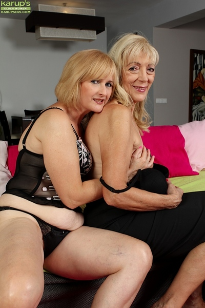 Elder statesman lesbians Janet Lesley with an increment of Kim Brosley swept off one