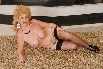 Prurient granny connected with nylon stockings alluring missing will not hear of dress