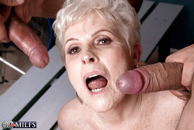 60 coupled with flaxen-haired granny gives chunky cocks blowjobs there assignment triune