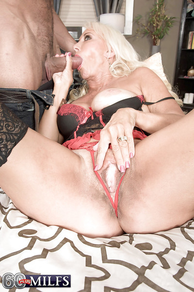 Tow-haired granny Madison Milstar burly Negro load of shit bj just about underthings