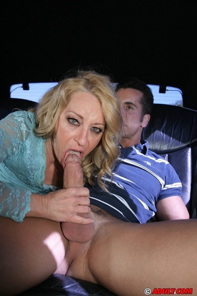 Slutty tow-headed ma just about stockings shows stay away from say no to blowjob skill just about transmitted to auto