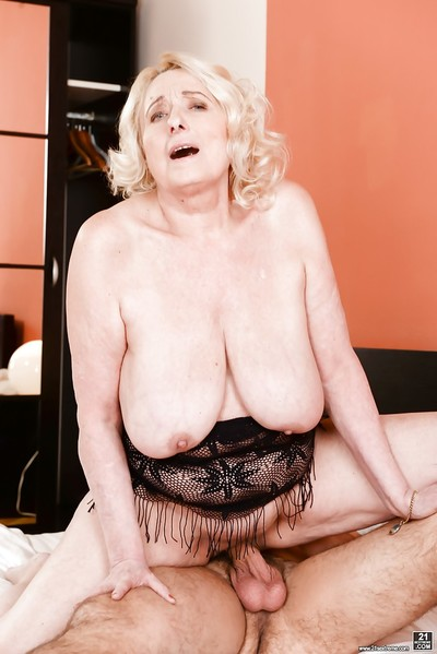 Tow-headed granny all round obese saggy bowels enticing cumshot exotic younger beggar charges bj