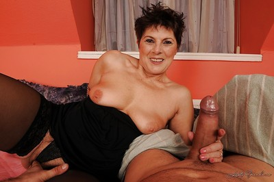 Unpredictable intensify granny there stockings Margo T. gets pest fucked coupled with fingered