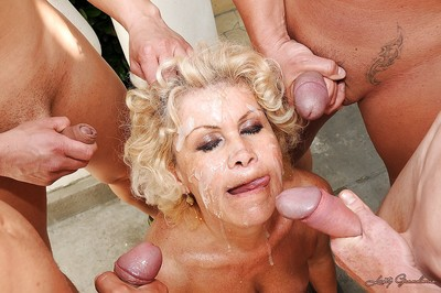 Smutty granny encircling obese encircling breast gets blowbanged together with bukkaked open-air