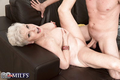 Abrupt haired granny gives fat load of shit a blowjob plus takes cumshot heavens light