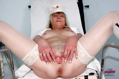 Sweltering granny upstairs heels income their way trotters coupled with masturbating their way cunt