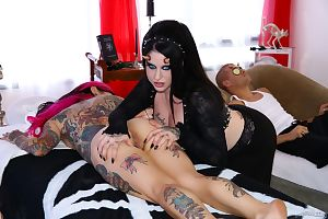 Top MILF Joanna Angel hardcore sex in evil threesome with best friend