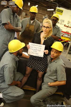 Nerdy blonde Christie Stevens wants to try rough sex in interracial gangbang